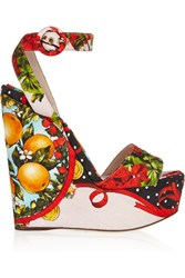 Dolce And Gabbana Printed Brocade Wedge Sandals Red