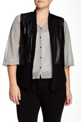 Mynt 1792 Faux Leather Panel Vest Plus Size Black