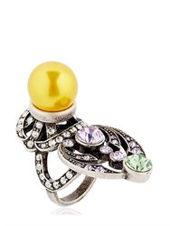 Mawi Crystal And Imitation Pearl Ring