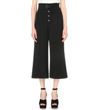 Red Valentino Cropped High Rise Crepe Culottes Nero