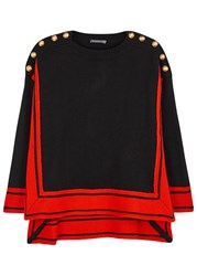 Alexander Mcqueen Two Tone Buttoned Cashmere Jumper Black And Red