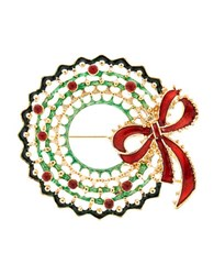Design Lab Lord And Taylor Christmas Wreath Pin Green Red Gold