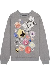 Christopher Kane Stickers Printed Cotton Jersey Sweatshirt Gray