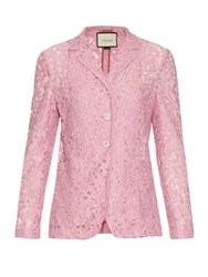 Gucci Single Breasted Floral Lace Jacket Pink