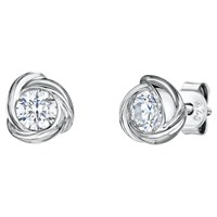 Jools By Jenny Brown Infinity Round Cubic Zirconia Stud Earrings Silver