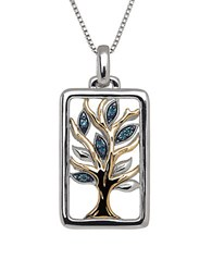 Lord And Taylor Green Diamond Sterling Silver 14K Yellow Gold Tree Pendant Necklace