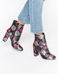 Dune Oxford Floral Heeled Ankle Boots Floral Fabric Multi