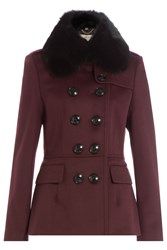 Burberry London Wool Jacket With Rabbit Fur Collar Red