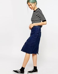 Monki High Waisted Denim Skirt Mid Blue