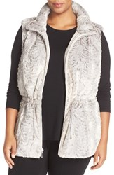 Gallery Plus Size Women's Reversible Faux Fur Vest Cement