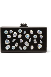 Edie Parker Jean Jewelie Crystal Embellished Acrylic Box Clutch Black