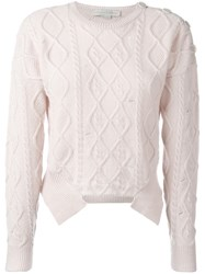 Stella Mccartney Distressed Cable Knit Jumper Pink And Purple