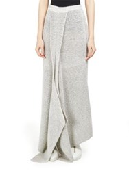 Stella Mccartney Waffle Knit Draped Maxi Skirt Cream