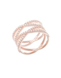 Lord And Taylor Cubic Zirconia Sterling Silver Crisscross Ring Rose Gold