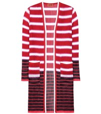 Missoni Crochet Knit Striped Cardigan Red