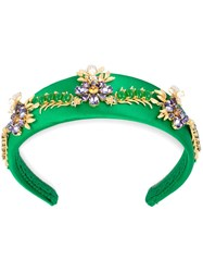 Dolce And Gabbana Flower Embellished Headband Green