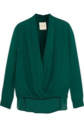 Mason By Michelle Mason Wrap Effect Silk Chiffon Blouse Emerald