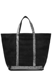 Vanessa Bruno Suede Tote With Sequin Embellishment Black