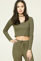 Forever 21 Waffle Knit Hooded Crop Top Olive