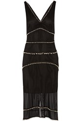 Altuzarra Gabrieli Swarovski Pearl Embellished Silk Dress Black