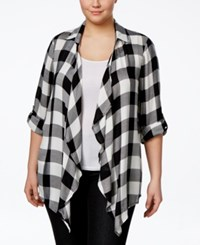 American Rag Plus Size Tab Sleeve Plaid Cardigan Only At Macy's Classic Black Combo