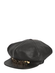Moschino Logo Lettering Leather Hat