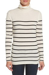 Halogenr Petite Women's Halogen Wool And Cashmere Funnel Neck Sweater Ivory Black Stripe