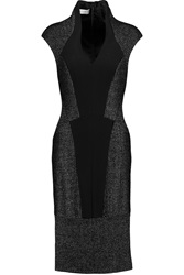 Amanda Wakeley Paneled Wool Blend And Jersey Midi Dress Black