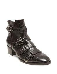 Design Lab Lord And Taylor Farr Embossed Buckle Booties Black