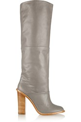 Tibi Vlada Leather Knee Boots Gray