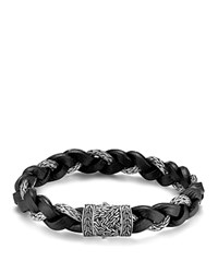 John Hardy Men's Classic Chain Braided Leather Cord Bracelet Black