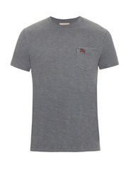 Burberry Cotton Crew Neck T Shirt Grey