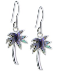Giani Bernini Iridescent Inlay Palm Tree Drop Earrings In Sterling Silver Only At Macy's