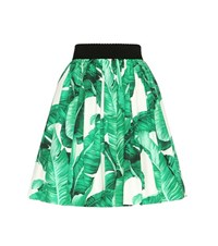Dolce And Gabbana Printed Cotton Skirt Green