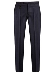 Incotex Slim Leg Wool Flannel Trousers Navy