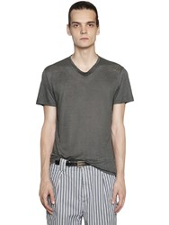 Etro Draped Collar Linen Jersey T Shirt