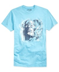 Mighty Fine Men's Captain America And Iron Man Splice Graphic Print T Shirt Light Blue Heather