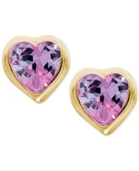 Macy's Children's Purple Cubic Zirconia Heart Earrings In 14K Gold