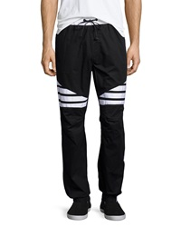 Hudson Jeans Striped Woven Jogger Pants White Black