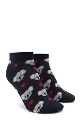 Forever 21 Koala Heart Ankle Socks Navy Multi