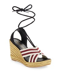 Marc Jacobs Lace Up Espadrille Wedge Sandals Burgundy