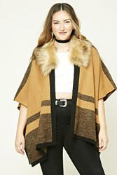 Forever 21 Plus Size Faux Fur Shawl Camel Black