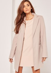 Missguided Tall Tailored Faux Wool Coat Nude Stone