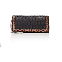 Dries Van Noten Women's Jacquard Inset Clutch Black Blue Black Blue