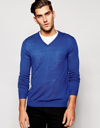 United Colors Of Benetton Acrylic Knitted V Neck Jumper Blue21a