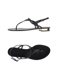 Rose Thong Sandals Black