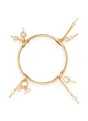 Chloe 'Kay' Swarovski Pearl Charm Bangle Metallic