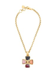 Chanel Vintage Cross Pendant Necklace Metallic