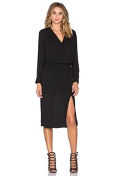 Krisa Surplice Midi Dress Black