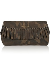 Burberry Fringed Camouflage Suede Clutch